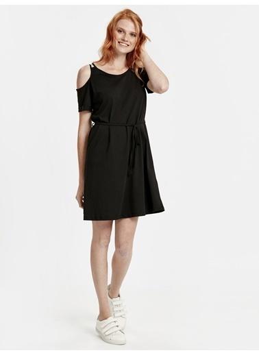 LC Waikiki Omuzları Açık Pamuklu Elbise Siyah